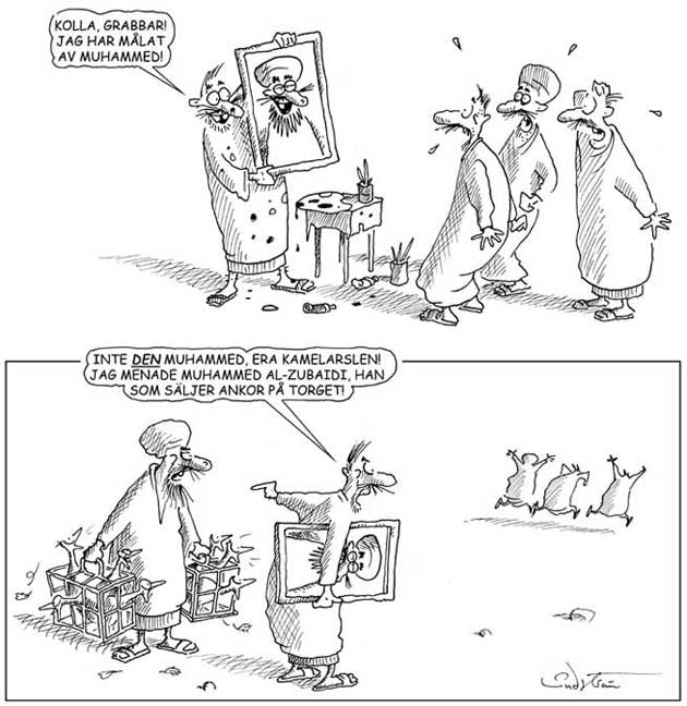 Muslimskt och kristet rad fordomer karikatyrerna